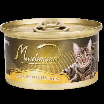 Massimomo  吞拿魚+雞肉 貓罐頭 80g