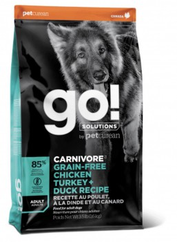 GO! SOLUTIONS 活力營養系列 無穀物 雞肉+火雞+鴨肉 成年 狗糧配方12lb