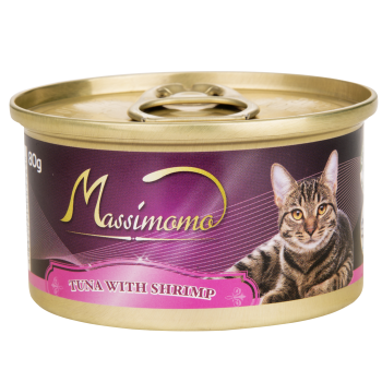 Massimomo 吞拿魚+蝦肉 貓罐頭 80g x36罐優惠
