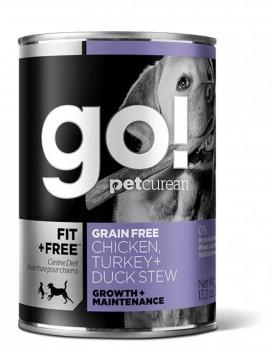GO! 健康能量系列 無穀物雞肉+火雞+鴨肉湯罐頭狗糧配方13oz